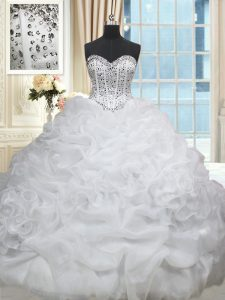 Cute Organza Sweetheart Sleeveless Brush Train Lace Up Beading and Pick Ups Vestidos de Quinceanera in White