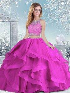 Fuchsia Ball Gowns Organza Scoop Sleeveless Beading and Ruffles Floor Length Clasp Handle Quinceanera Dresses
