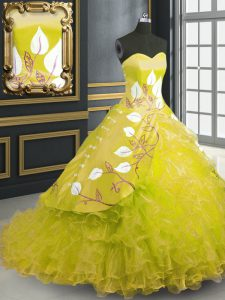 Yellow Sweetheart Lace Up Embroidery and Ruffles Quinceanera Gown Brush Train Sleeveless
