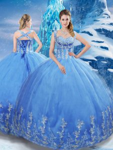 Dramatic Sleeveless Tulle Floor Length Lace Up Ball Gown Prom Dress in Baby Blue with Beading and Appliques