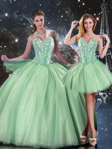 Shining Sleeveless Beading Lace Up Vestidos de Quinceanera