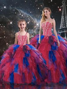 Lace Up Quinceanera Dresses Multi-color for Military Ball and Sweet 16 and Quinceanera with Beading and Ruffled Layers