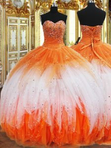 Flare Multi-color Sweetheart Lace Up Beading and Ruffles Quince Ball Gowns Sleeveless