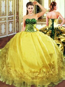 Floor Length Gold Sweet 16 Quinceanera Dress Sweetheart Sleeveless Lace Up