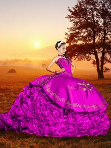 Custom Design Fuchsia Sleeveless Organza Brush Train Lace Up Sweet 16 Dress for Military Ball and Sweet 16 and Quinceanera