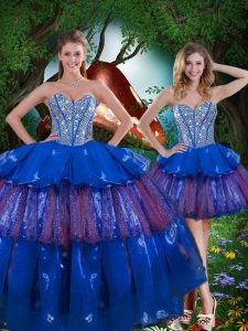 Sleeveless Lace Up Floor Length Beading and Ruffled Layers and Sequins Quinceanera Gown