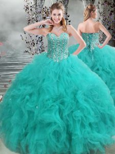 Fabulous Sleeveless Organza Floor Length Lace Up Sweet 16 Dresses in Turquoise with Beading and Ruffles