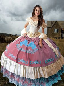 Lovely Off The Shoulder Sleeveless Taffeta Sweet 16 Quinceanera Dress Embroidery and Ruffled Layers Brush Train Lace Up