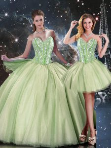 Yellow Green Sweetheart Neckline Beading 15th Birthday Dress Sleeveless Lace Up