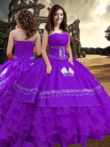 Purple Sleeveless Embroidery and Ruffled Layers Floor Length Sweet 16 Dresses