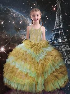 Champagne Sleeveless Beading and Ruffled Layers Floor Length Girls Pageant Dresses