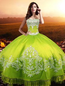 Yellow Green Sleeveless Floor Length Beading and Appliques Lace Up Quince Ball Gowns