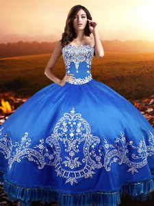 Dazzling Blue Ball Gowns Beading and Appliques Quince Ball Gowns Lace Up Taffeta Sleeveless Floor Length
