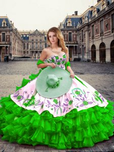 Green Sleeveless Embroidery and Ruffled Layers Floor Length Quinceanera Gown