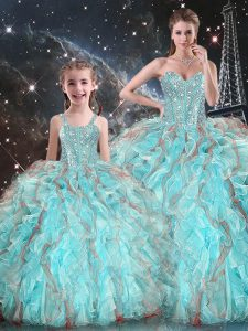 Aqua Blue Ball Gowns Beading and Ruffles Quinceanera Gowns Lace Up Organza Sleeveless Floor Length