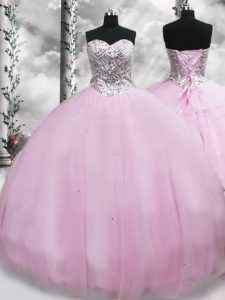 Traditional Lilac Quince Ball Gowns Tulle Brush Train Sleeveless Beading