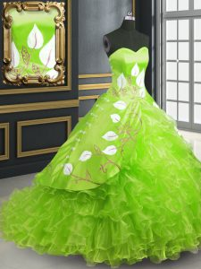 Sleeveless Organza Brush Train Lace Up Vestidos de Quinceanera for Military Ball and Sweet 16 and Quinceanera