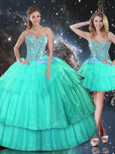 Floor Length Turquoise Quinceanera Dresses Sweetheart Sleeveless Lace Up