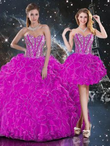 Fuchsia Sleeveless Organza Lace Up Sweet 16 Dresses for Military Ball and Sweet 16 and Quinceanera