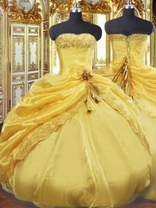 Affordable Sleeveless Taffeta Floor Length Lace Up 15th Birthday Dress in Gold with Beading and Pick Ups