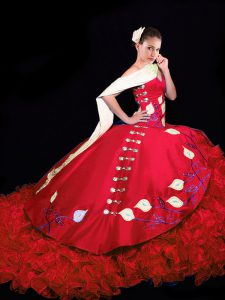 Red Sleeveless Taffeta Brush Train Lace Up Ball Gown Prom Dress for Military Ball and Sweet 16 and Quinceanera