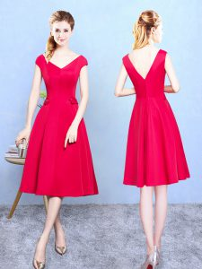 Red Wedding Guest Dresses Wedding Party with Ruching V-neck Cap Sleeves Zipper