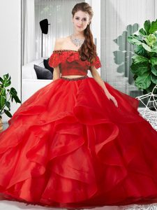 Floor Length Red Quinceanera Dresses Off The Shoulder Sleeveless Lace Up