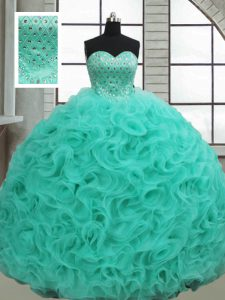 Sleeveless Brush Train Lace Up Beading Quinceanera Gowns
