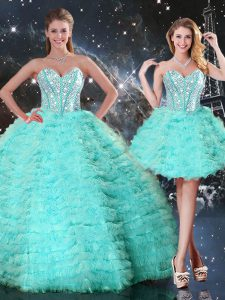 Trendy Organza Sleeveless Floor Length Quinceanera Dresses and Beading and Ruffled Layers