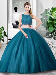 Chic Teal Tulle Zipper Quinceanera Dresses Sleeveless Floor Length Lace and Ruching
