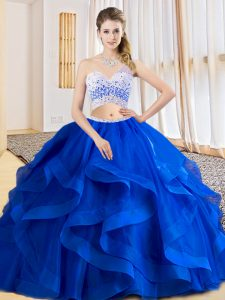 Royal Blue Criss Cross 15th Birthday Dress Beading and Ruffles Sleeveless Floor Length