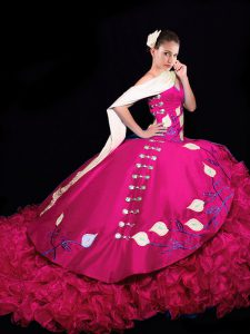 Gorgeous Fuchsia Ball Gowns V-neck Sleeveless Taffeta Brush Train Lace Up Embroidery and Ruffles Sweet 16 Dress