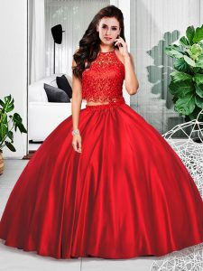 Taffeta Halter Top Sleeveless Zipper Lace and Ruching Sweet 16 Quinceanera Dress in Wine Red