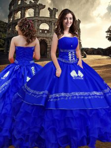 Royal Blue Sleeveless Taffeta Zipper 15th Birthday Dress for Military Ball and Sweet 16 and Quinceanera