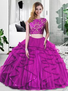 Cheap Fuchsia Scoop Zipper Lace and Ruffles Vestidos de Quinceanera Sleeveless