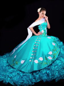 Dazzling Sleeveless Brush Train Embroidery and Ruffles Lace Up Sweet 16 Dresses