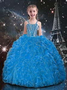 Latest Baby Blue Lace Up Straps Beading and Ruffles Girls Pageant Dresses Organza Sleeveless