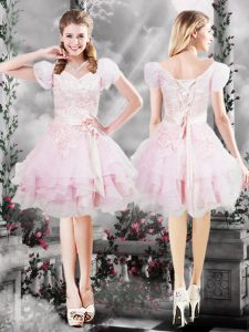 Eye-catching Knee Length Baby Pink Prom Dresses V-neck Short Sleeves Lace Up