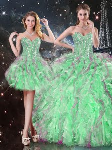 Dramatic Apple Green Lace Up Quince Ball Gowns Beading and Ruffles Sleeveless Floor Length