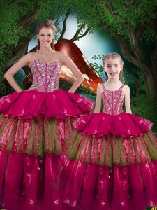 Graceful Sweetheart Sleeveless Ball Gown Prom Dress Floor Length Beading and Ruffled Layers Fuchsia Organza