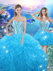 Elegant Sweetheart Sleeveless 15th Birthday Dress Floor Length Beading and Ruffles Baby Blue Organza