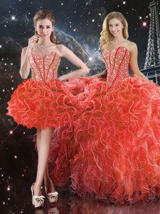 Pretty Sleeveless Organza Floor Length Lace Up 15th Birthday Dress in Coral Red with Beading and Ruffles