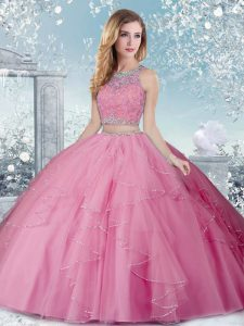 Superior Rose Pink Sleeveless Beading Floor Length Quince Ball Gowns