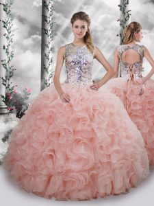 Baby Pink Lace Up Ball Gown Prom Dress Beading and Ruffles Sleeveless Floor Length