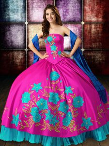 Artistic Floor Length Lace Up Sweet 16 Dress Multi-color for Military Ball and Sweet 16 and Quinceanera with Embroidery