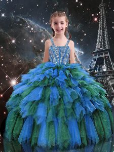 Admirable Sleeveless Floor Length Beading and Ruffles Lace Up Juniors Party Dress with Blue