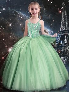 Beauteous Floor Length Apple Green Little Girls Pageant Dress Straps Sleeveless Lace Up