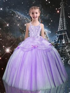 Hot Selling Tulle Straps Sleeveless Lace Up Beading Child Pageant Dress in Lilac
