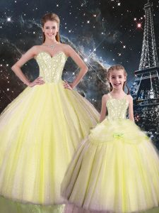 Yellow Sleeveless Floor Length Beading Lace Up Sweet 16 Quinceanera Dress