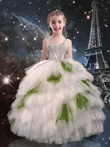 Excellent Sleeveless Beading and Ruffled Layers Lace Up Child Pageant Dress